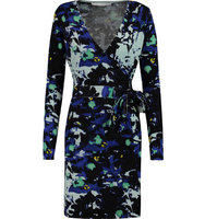 Diane von Furstenberg Diane von Furstenberg Leandra Jacquard knit Wool blend Wrap Mini Dress Blue