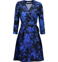 Diane von Furstenberg Diane von Furstenberg Valerie Printed Wool And Silk blend Wrap Dress Royal blue