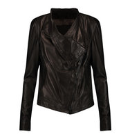 Donna Karan New York Donna Karan New York Asymmetric Leather Jacket Black