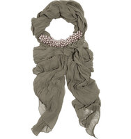 Donna Karan New York Donna Karan New York Beaded Silk chiffon Scarf Gray