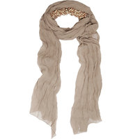 Donna Karan New York Donna Karan New York Beaded Silk chiffon Scarf Taupe