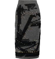 Donna Karan New York Donna Karan New York Embellished Scuba jersey Midi Skirt Gray