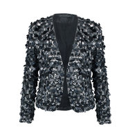 Donna Karan New York Donna Karan New York Sequined Silk Jacket Black