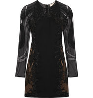 Emilio Pucci Emilio Pucci Embellished Tulle And Wool And Silk blend Twill Mini Dress Black