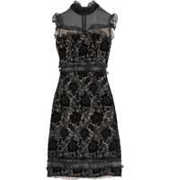 Erdem Erdem Chiffon paneled Guipure Lace And Velvet Midi Dress Black