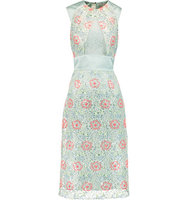 Erdem Erdem Embroidered Pvc And Silk satin Midi Dress Mint