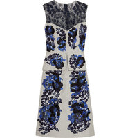 Erdem Erdem Floral embroidered Cotton blend Twill Midi Dress Gray