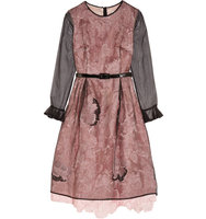 Erdem Erdem Layered Embroidered Tulle And Silk organza Midi Dress Pink