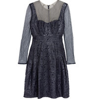 Erdem Erdem Swiss Dot paneled Embroidered Faux Leather Dress Navy