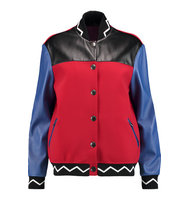Etro Etro Color block Leather And Scuba Bomber Jacket Red