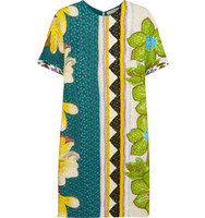 Etro Etro Embroidered Cutout Crepe Dress Teal