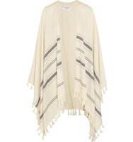 Frame Frame Le Poncho Fringed Striped Alpaca Cape Cream