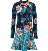 Issa Issa Alessandra Printed Silk blend Boucl Dress Turquoise