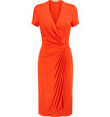 Issa Issa Aura Wrap effect Stretch jersey Mini Dress Bright orange