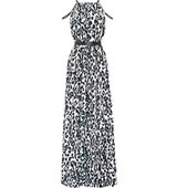 Issa Issa Chantel Leopard print Crepe Maxi Dress Off white