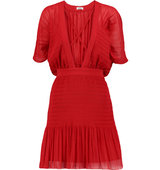 Issa Issa Haley Ruched Crepe Mini Dress Red