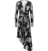 Issa Issa Minerva Wrap effect Printed Silk blend Jersey Dress Black