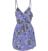Joie Joie Ruffled Printed Silk georgette Mini Dress Lavender