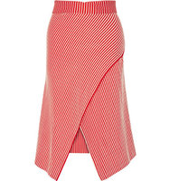 Jonathan Saunders Jonathan Saunders Serle Wrap effect Striped Cotton blend Midi Skirt Red
