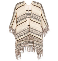 Maje Maje Fringed Pointelle knit Cotton blend Poncho White