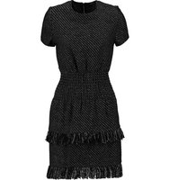 Maje Maje Rabata Tiered Tweed Mini Dress Black