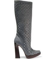 Marni Marni Laser cut Leather Knee Boots Anthracite