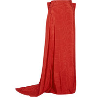 Osman Osman Amaia Wrap effect Faille Maxi Skirt Red