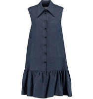 Osman Osman Lea Pleated Linen Mini Dress Indigo