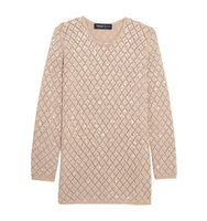 Pringle of Scotland Pringle of Scotland Sequinned Open knit Cashmere Sweater Beige