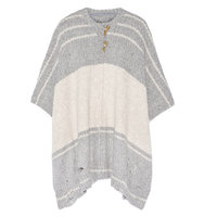 Raquel Allegra Raquel Allegra Striped Alpaca blend Poncho Gray