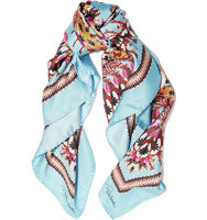 Roberto Cavalli Roberto Cavalli Day Dream Printed Silk Scarf Sky blue