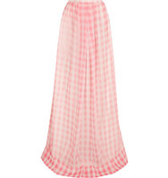 Rochas Rochas Checked Silk gauze Maxi Skirt Pastel pink