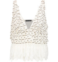 Rochas Rochas Embellished Silk chiffon And Lace Top Ivory