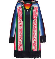 Sacai Sacai Fringed Printed Cotton Hooded Poncho Pink