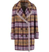 See by Chloe See by Chlo Checked Faux Shearling Coat Purple