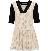 See by Chloe See by Chlo Crepe paneled Crocheted Cotton Mini Dress Off white
