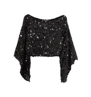 Sonia Rykiel Sonia Rykiel Cropped Asymmetric Sequined Stretch knit Top Black