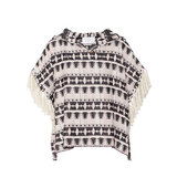Thakoon Thakoon Addition Fringed Hooded Cotton blend Tweed Top Black