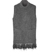 Thakoon Thakoon Addition Fringed Split front Knitted Sweater Charcoal