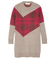 Thakoon Thakoon Addition Tartan paneled Knitted Sweater Mushroom