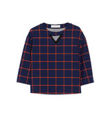 Thakoon Thakoon Checked Gabardine Top Navy