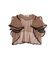 Valentino Valentino Cropped Lace trimmed Open knit Cardigan Mushroom