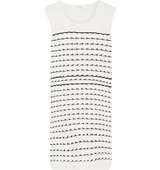 10 Crosby by Derek Lam Chiffon Trimmed Knitted Cotton Mini Dress