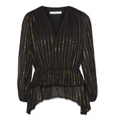10 Crosby by Derek Lam Ruffled Striped Georgette Top