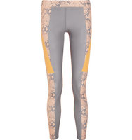 Adidas by Stella McCartney Adidas By Stella Mccartney Running Techfit Snake Print Climalite Stretch Leggings Light Gray