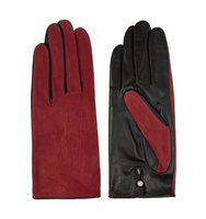 Agnelle Agnelle Silk Lined Suede And Leather Gloves Red