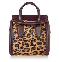 Alexander McQueen Alexander Mcqueen The Heroine Small Leather And Leopard Print Calf Hair Tote Leopard Print