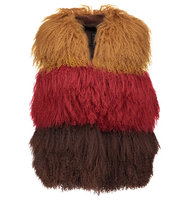 Anna Sui Anna Sui Color Block Shearling And Suede Vest Red