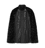 Anna Sui Anna Sui Embroidered Faux Leather Trimmed Faux Fur Cape Black