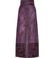 Anna Sui Anna Sui Embroidered Faux Suede Maxi Skirt Grape